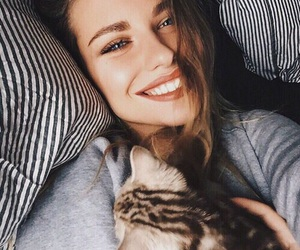 cat, smile, and girl image