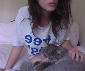 girl, pale, and cat image