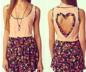 dress, heart, and flowers image
