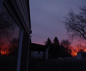 sky, sunset, and tree image