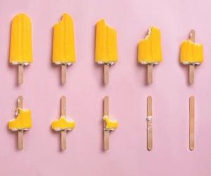 yellow, pink, and ice cream image