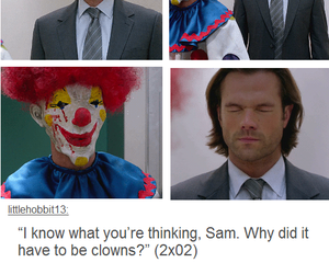 sam winchester, clown, and funny image