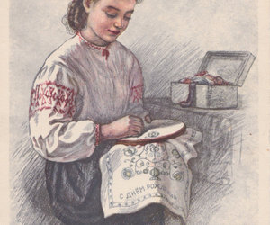 daughter, girl, and embroidery image