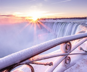 winter, snow, and waterfall image