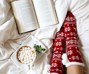 books, chocolate, and marshmallows image
