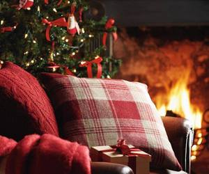 christmas, fire, and christmas tree image