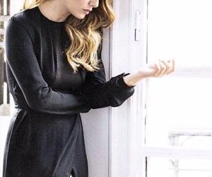 black dress, blonde hair, and fashion image