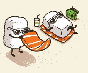 sushi, funny, and beach image