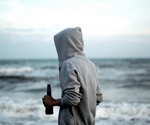 boy, beer, and sea image