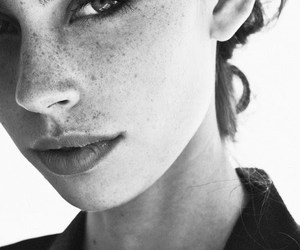 girl, black and white, and freckles image