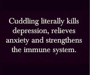 cuddling, depression, and quotes image
