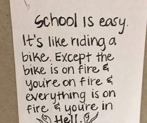 school, hell, and fire image