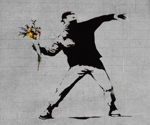 flowers, BANKSY, and art image