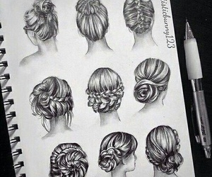 hair, drawing, and hairstyles image