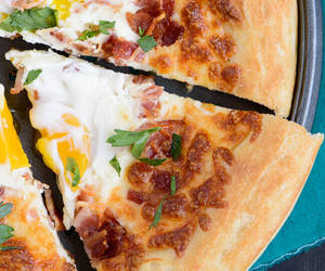 bacon, dough, and pizza image