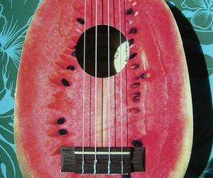 guitar, watermelon, and music image