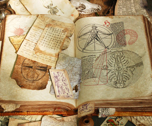ancient, leather, and bookd image