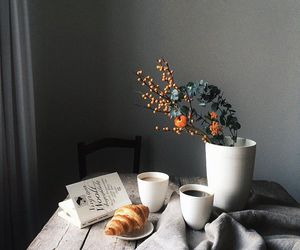 coffee, book, and flowers image