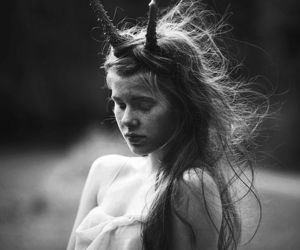 girl, black and white, and horns image