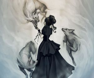 wolf, drawing, and soul image