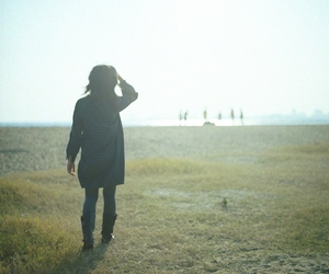 back, field, and girl image
