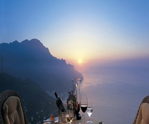 dinner, romantic, and sunset image