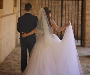 bride, wedding, and white dress image
