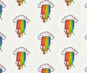 wallpaper, rainbow, and clouds image