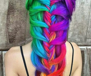 braid, hair, and rainbow image