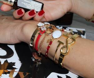 bracelets, gold, and lucky clover image