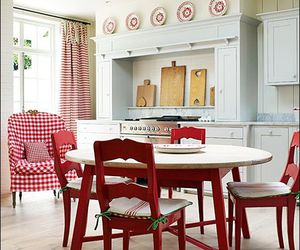 decor, wood chairs, and red country style kitchen image