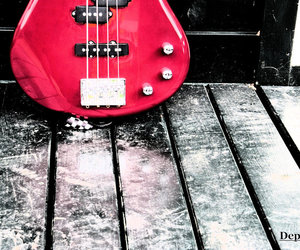 guitar, music, and red image