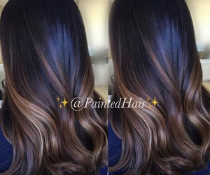 brunette, long hair, and ombre image