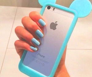 iphone, nails, and lightblue image