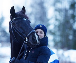 beanie, blue, and bridle image