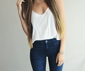 fashion, jeans, and hair image