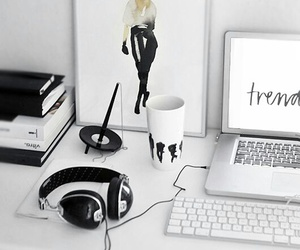 white, room, and desk image