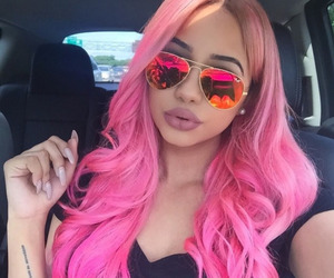 hair, pink, and sunglasses image