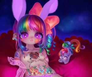 bunny ears, girl, and rabbit ears image