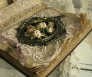 book, rose, and lace image
