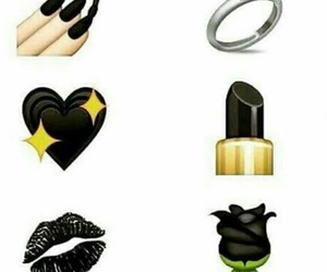 black, emoji, and rose image