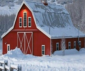 winter, barn, and snow image