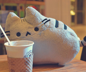 cat, pusheen, and coffee image