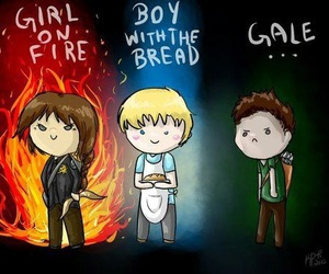 gale, peeta, and katniss image
