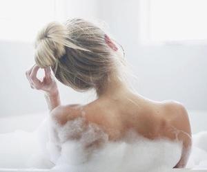 bath, blonde, and bubbles image
