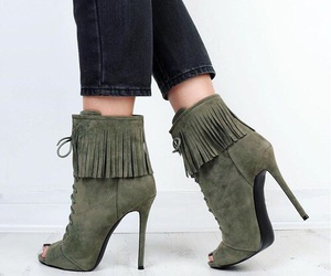 heels, green, and shoes image