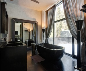 bath, black, and design image