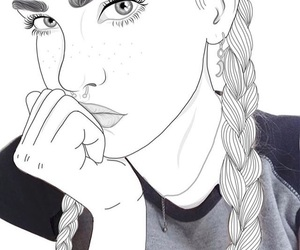black and white, girl, and outline image