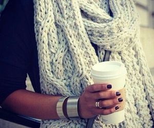 fashion, scarf, and coffee image