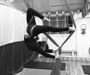 circus, aerial silk, and aerialist image